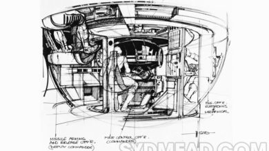 Photo of Syd Mead TRON Tank Interior Sketch