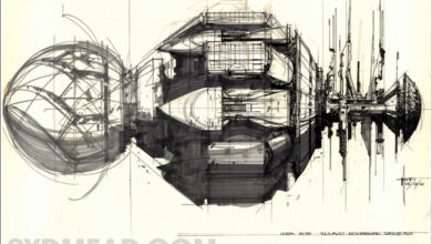 Photo of Syd Mead Aliens Sulaco Initial Concept