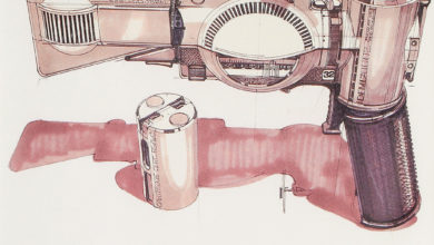 Photo of Syd Mead Blade Runner Deckard Gun Sketch 01