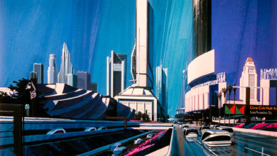 Photo of SYD MEAD – FUTURE CITIES – Exhibition at the gallery O&O Depot in Berlin
